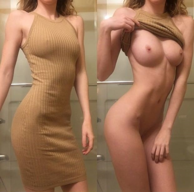 White babe before and after nude photo
