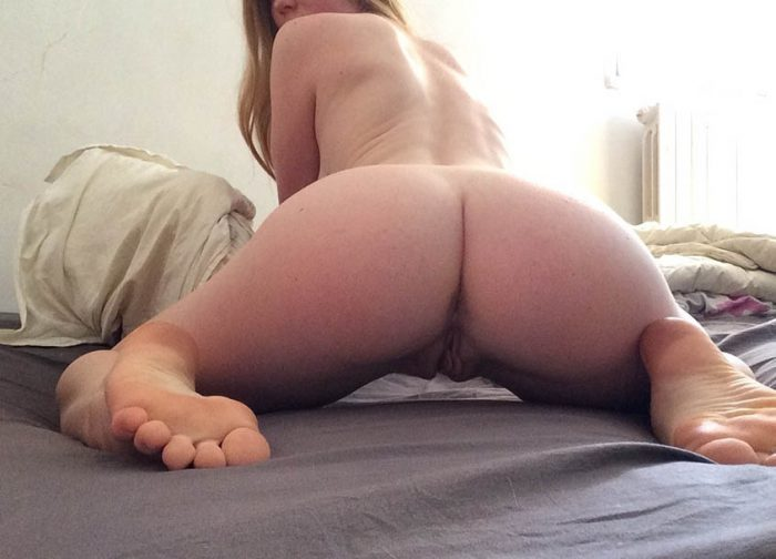 My phat pussy girlfriend bending over and spreading her ass