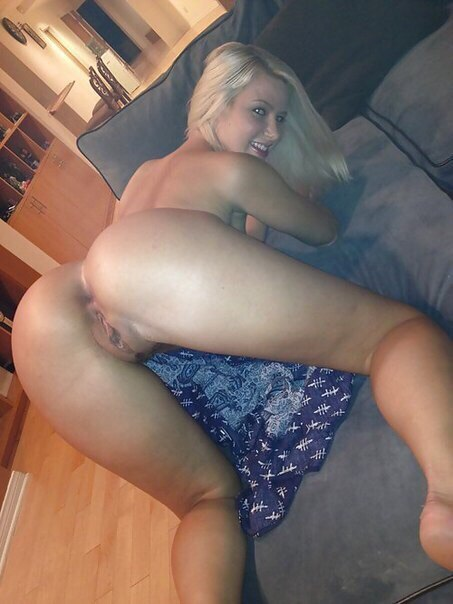 Freaky blonde lady bending over and ready for some dick