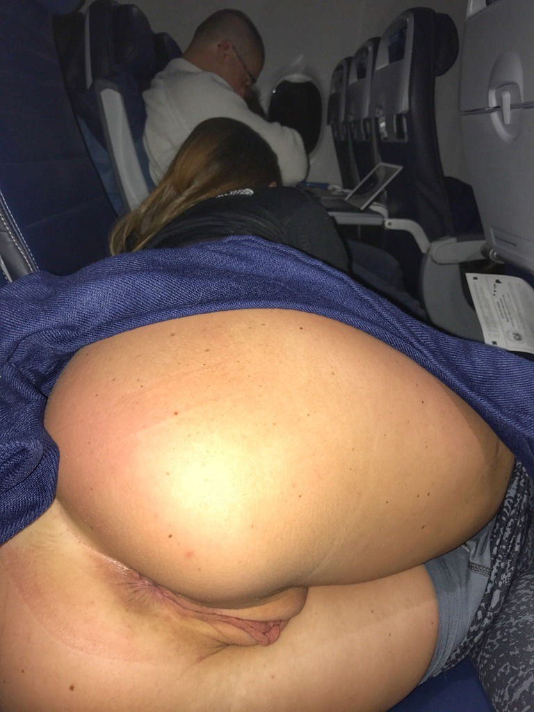 My freaky girl flashing her juicy pussy in the plane